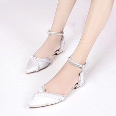 Women's Silk Like Satin Low Heel Closed Toe Flats Sandals With Rhinestone Ruffles Ruched Chain