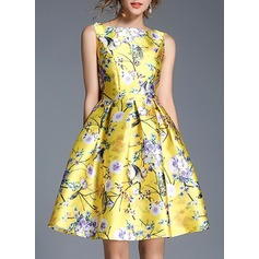 Polyester With Print/Crumple Above Knee Dress (199137142)