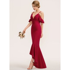 Trumpet/Mermaid V-neck Asymmetrical Stretch Crepe Bridesmaid Dress