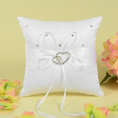 Gorgeous Ring Pillow With Bow/Double Hearts