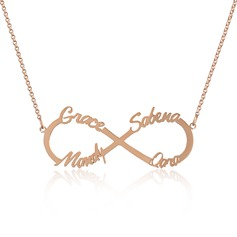 Custom 18k Rose Gold Plated Silver Infinity Four Name Necklace Infinity Name Necklace - Birthday Gifts Mother's Day Gifts