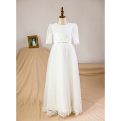 A-Line/Princess Floor-length Flower Girl Dress - Organza/Tulle 1/2 Sleeves Scoop Neck With Beading