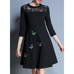 Cotton With Stitching/Embroidery Above Knee Dress (199137162)