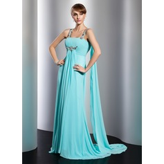 Empire Watteau Train Chiffon Evening Dress With Ruffle Beading