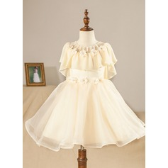 A-Line/Princess Knee-length Flower Girl Dress - Chiffon/Organza Short Sleeves Scoop Neck With Ruffles/Beading/Flower(s)