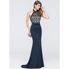 Trumpet/Mermaid Halter Sweep Train Jersey Prom Dresses With Beading Sequins Bow(s)