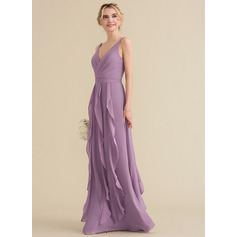 V-neck Floor-Length Chiffon Prom Dresses With Cascading Ruffles (272203100)