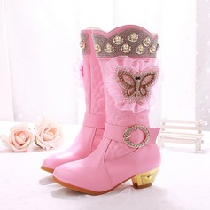 Girl's Leatherette Flat Heel Closed Toe Boots With Beading Imitation Pearl Rhinestone Zipper