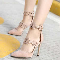 Women's Leatherette Stiletto Heel Closed Toe Boots Ankle Boots With Rivet Buckle shoes