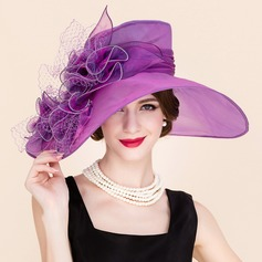 Ladies' Elegant Spring/Summer/Autumn Organza/Tulle With Bowler/Cloche Hat (196089177)