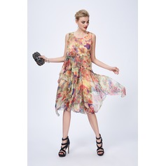 Chiffon/Silk With Print Knee Length Dress (199120507)