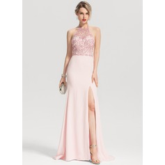 Trumpet/Mermaid Halter Sweep Train Stretch Crepe Prom Dresses With Beading Sequins Split Front