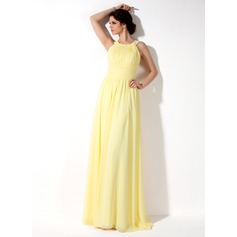 A-Line Halter Neck Floor-length Chiffon Bridesmaid Dress
