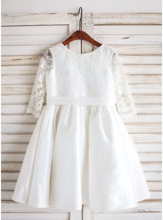 A-Line/Princess Tea-length Flower Girl Dress - Taffeta/Lace 3/4 Sleeves Scoop Neck
