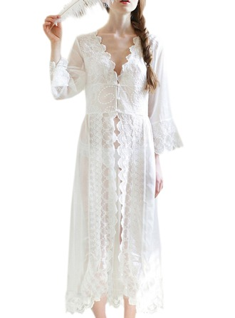 Bride Bridesmaid Lace With Ankle-Length Satin & Lace Robes