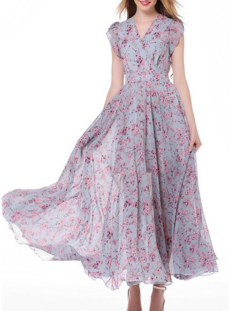 Chiffon With Stitching/Crumple/Ruffles Maxi Dress