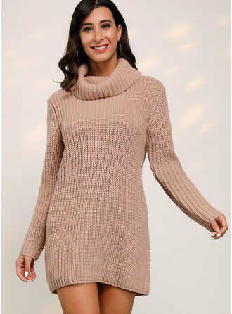Ribbed Chunky knit Solid Polyester Crew Neck Sweater Dresses Sweaters