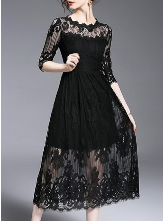 Lace With Bowknot/Stitching/Hollow/Crumple/See-through Look Maxi Dress