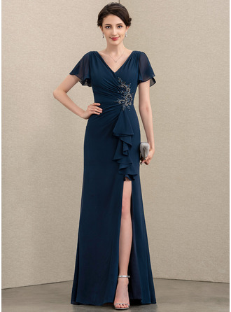 Sheath/Column V-neck Floor-Length Chiffon Mother of the Bride Dress With Beading Split Front Cascading Ruffles