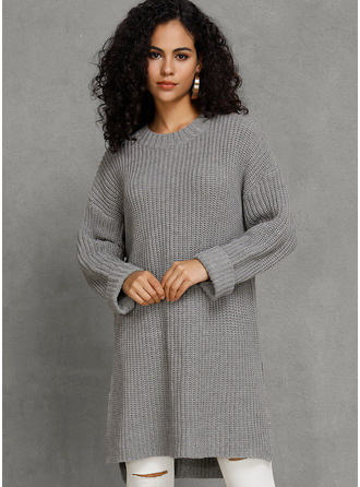 Gros tricot Couleur Unie Coton Col rond Pull-overs Robes pull Pulls