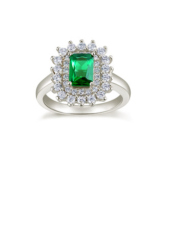Sterling Silver Cubic Zirconia Vintage Solitaire Baguette Cut Mother's Rings Cocktail Rings -