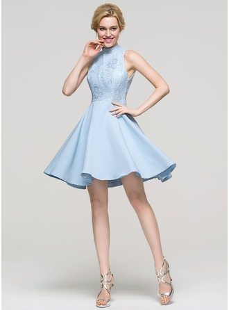 A-Line High Neck Short/Mini Stretch Crepe Homecoming Dress