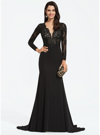 Trumpet/Mermaid V-neck Sweep Train Stretch Crepe Prom Dresses With Lace Sequins