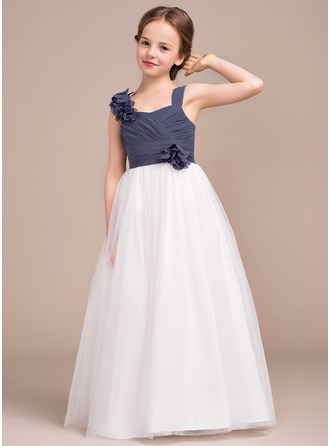 A-Line/Princess Sweetheart Floor-Length Chiffon Tulle Junior Bridesmaid Dress With Ruffle Flower(s)