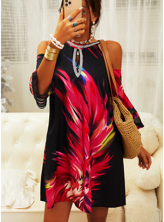 Print Shift Cold Shoulder 3/4 Sleeves Midi Elegant Tunic Dresses