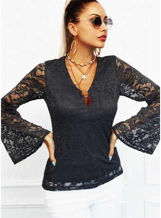 Regular Cotton Blends V-Neck Lace Solid Tight Blouses