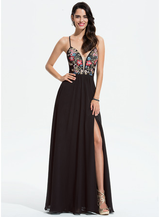 V-neck Floor-Length Chiffon Prom Dresses With Lace Sequins