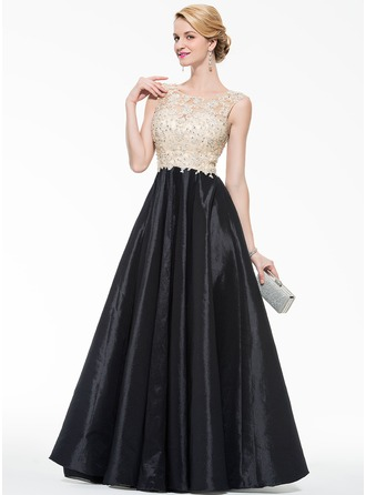 Scoop Neck Floor-Length Taffeta Tulle Prom Dresses With Beading Appliques Lace Sequins