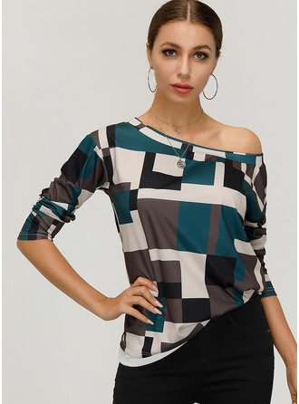 Long Sleeves Cotton One Shoulder Bluzlar