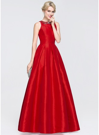 Scoop Neck Floor-Length Taffeta Prom Dresses With Beading Sequins