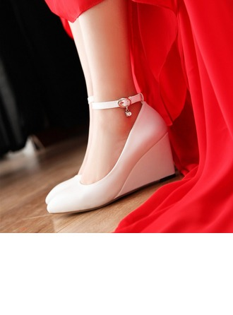 Women's Leatherette Wedge Heel Closed Toe Pumps Wedges With Buckle