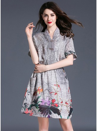 Linen With Stitching/Print Above Knee Dress