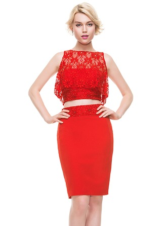 Sheath/Column Strapless Knee-Length Satin Lace Homecoming Dress With Beading Sequins