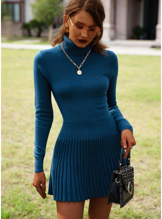 High Neck Long Sleeves Solid Casual Long Sweater Dresses