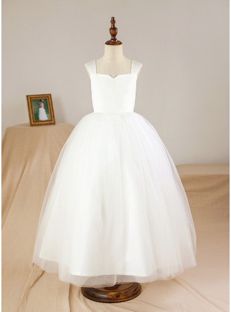 Ball Gown Ankle-length Flower Girl Dress - Satin/Tulle Square Neckline