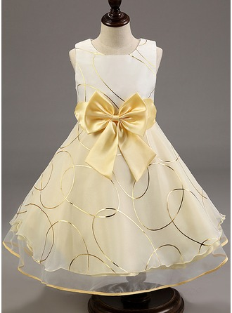 A-Line/Princess Knee-length Flower Girl Dress - Cotton Blends Sleeveless With Bow(s)