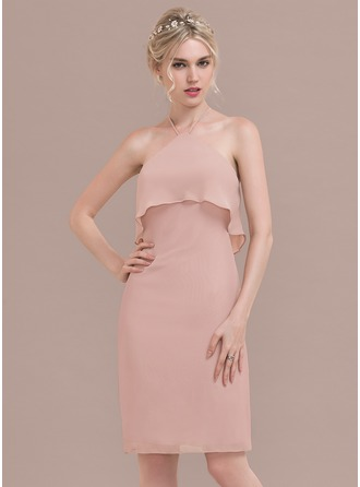 Sheath/Column Scoop Neck Knee-Length Chiffon Bridesmaid Dress With Cascading Ruffles