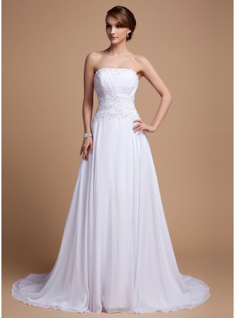 A-Line/Princess Strapless Court Train Chiffon Wedding Dress With Beading Sequins Cascading Ruffles