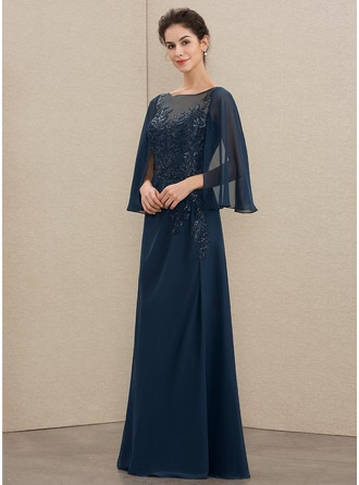 Scoop Neck Floor-Length Chiffon Lace Mother of the Bride Dress With Sequins