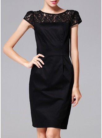Cotton Blends With Lace Above Knee Dress