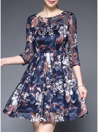 Polyester/Tulle With Print Above Knee Dress