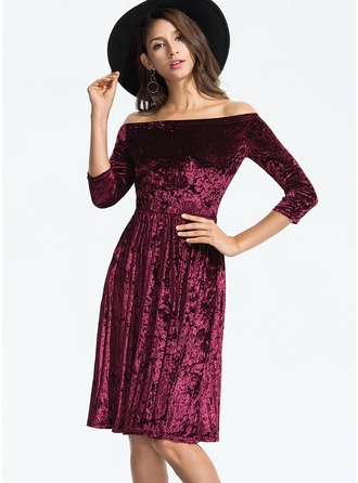 Velvet With Stitching Knee Length Dress