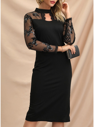 Lace Sequins Bodycon High Neck Long Sleeves Midi Elegant Little Black Party Pencil Dresses