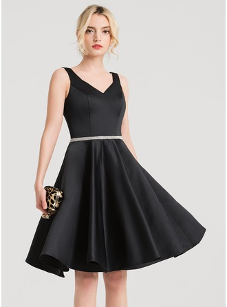 V-neck Knee-Length Satin Cocktail Dress