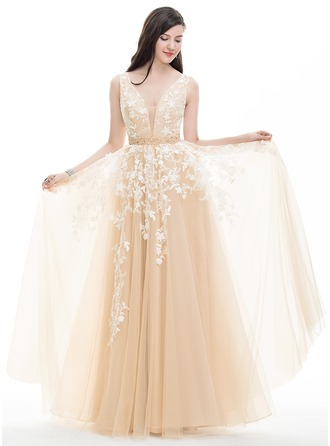 A-Line/Princess V-neck Floor-Length Tulle Evening Dress With Beading Sequins