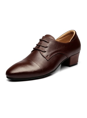 Men's Real Leather Modern Ballroom Swing With Lace-up Dance Shoes
